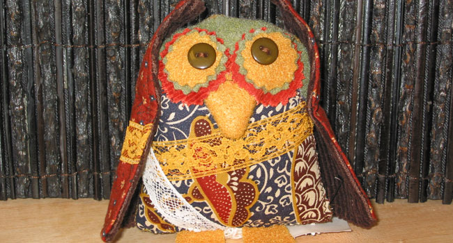 Handmade Patch Work Owl, Made From Recycled Fabrics