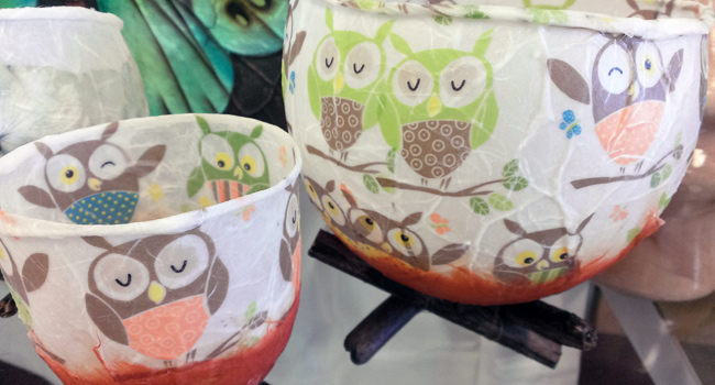 Owl Tealight Luminaries, Made From Paper and Wax