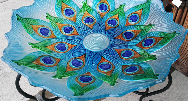 Hand Painted Glass Birdbath With Metal Scroll Stand