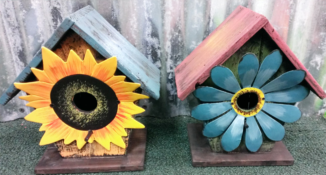 Handpainted Birdhouses Made From Wood and Metal